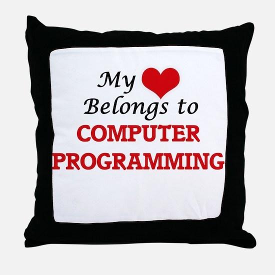 My heart belongs to Computer Programm Throw Pillow