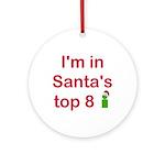 Santa's Top 8 Ornament (Round)
