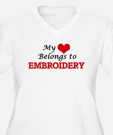 My heart belongs to Embroidery Plus Size T-Shirt