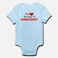 My heart belongs to Embroidery Body Suit