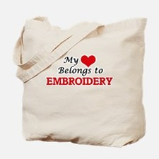My heart belongs to Embroidery Tote Bag