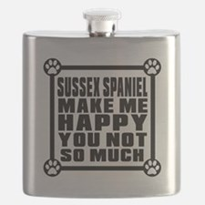 Sussex Spaniel Dog Make Me Happy Flask