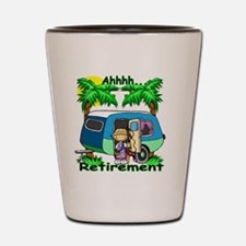 Funny Happy retirement Shot Glass