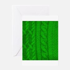 WOOL knit green cable design Greeting Cards