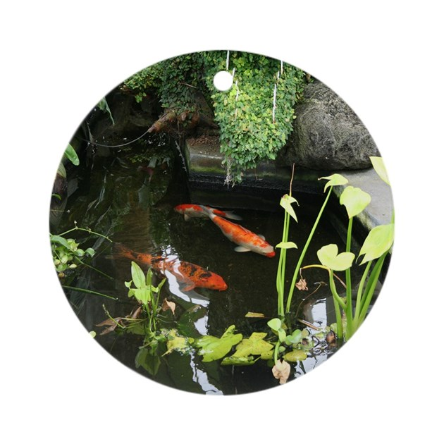 serene koi pond ornament round by photographz