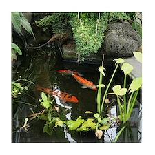 Serene Koi Pond Tile Coaster
