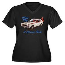 Classy Ride Women's Plus Size V-Neck Dark T-Shirt