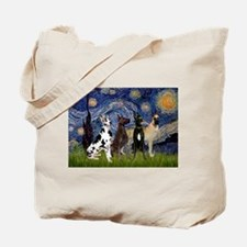 Starry / 4 Great Danes Tote Bag