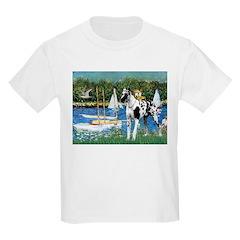 Sailboats / Gr Dane (h) Kids Light T-Shirt