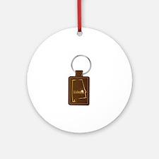Alabama Leather Key Fob Round Ornament