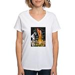 Fairies / Gr Dane (h) Women's V-Neck T-Shirt