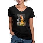 Fairies / Gr Dane (h) Women's V-Neck Dark T-Shirt