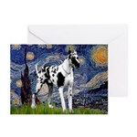 Starry / Gr Dane (h) Greeting Cards (Pk of 20)
