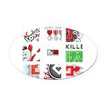 Six Love Tennis - Tennis Brand Oval Car Magnet