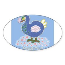 Colorful dodo Oval Decal