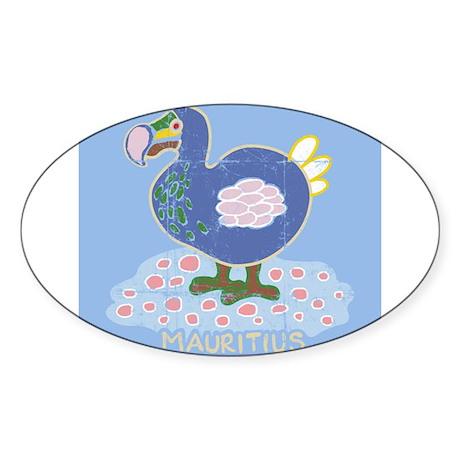Colorful dodo Oval Sticker