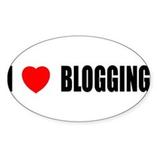 I Love Blogging Oval Decal
