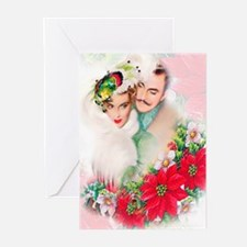 Art Deco Christmas Couple Greeting Cards