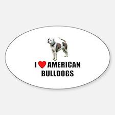 I Love American Bulldogs Oval Decal