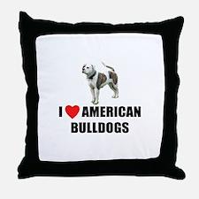 I Love American Bulldogs Throw Pillow
