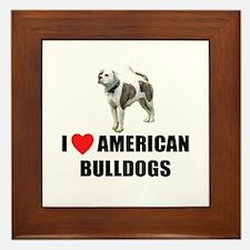 I Love American Bulldogs Framed Tile