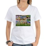 Lilies / Gr Dane (f) Women's V-Neck T-Shirt