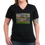 Lilies / Gr Dane (f) Women's V-Neck Dark T-Shirt