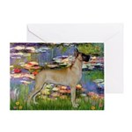 Lilies / Gr Dane (f) Greeting Card
