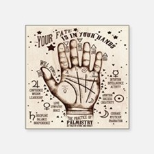 "Vintage Palmistry Square Sticker 3"" X 3"""