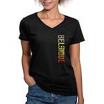 Belgique Stamp Women's V-Neck Dark T-Shirt