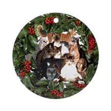 HOUSECATS MAKE HOLIDAYS HAPPIER! Ornament (Round)