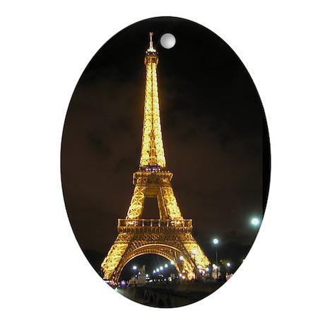 Eiffel Tower at Night Paris France Oval Ornament