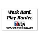 RUSA - Work Hard. Play Harder Sticker (Rectangular