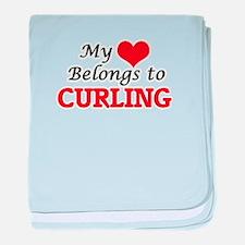 My heart belongs to Curling baby blanket