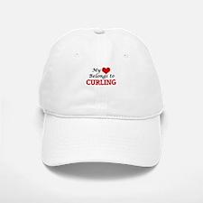 My heart belongs to Curling Baseball Baseball Cap