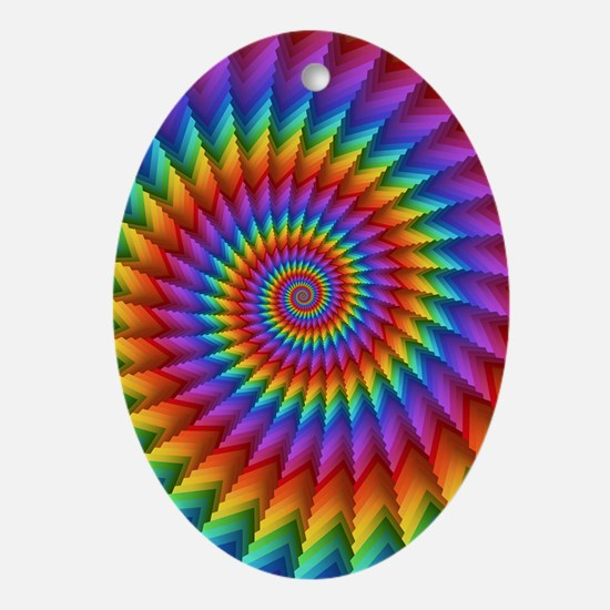 Psychedelic Rainbow Spiral Fractal Oval Ornament