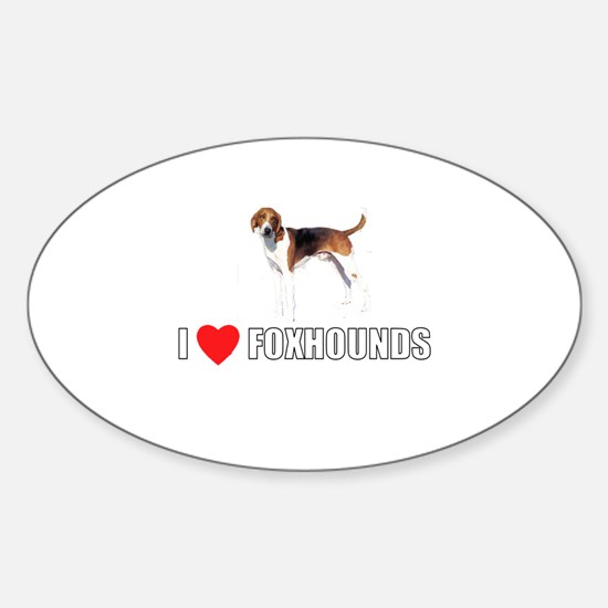 I Love Foxhounds Oval Decal