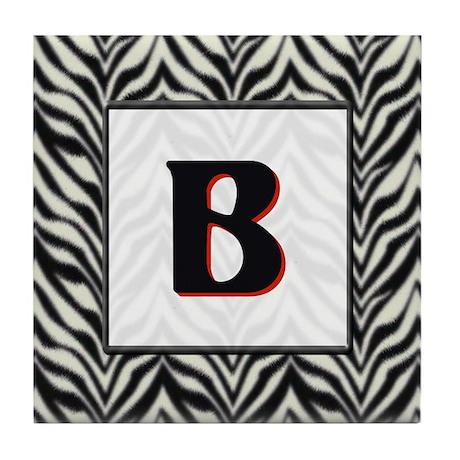 Zebra Monogram B Tile Coaster