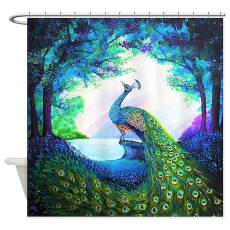 cute purple peacock shower curtain