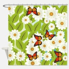 Daisies and butterflies Shower Curtain