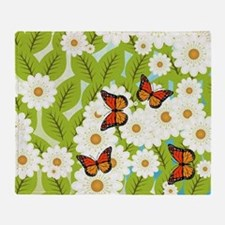 Daisies and butterflies Throw Blanket