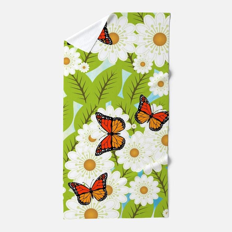 Daisies and butterflies Beach Towel