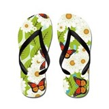 Daisies and butterflies Flip Flops