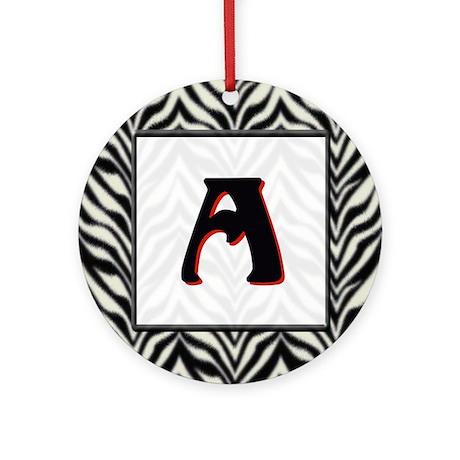Zebra Monogram A Ornament (Round)