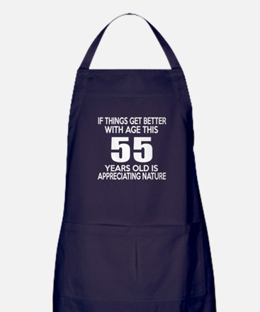 55 Years Old Is Appreciating Nature Apron (dark)