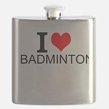 I Love Badminton Flask