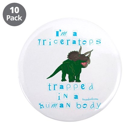 "I'm a Triceratops 3.5"" Button (10 pack)"
