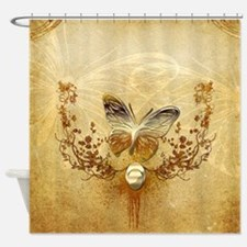 Wonderful golden butterflies with roses Shower Cur