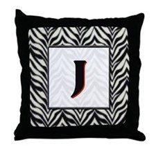 Zebra Monogram J Throw Pillow