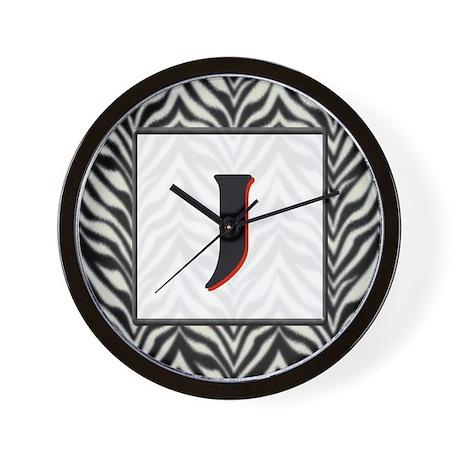 Zebra Monogram J Wall Clock